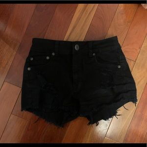 Black high waisted jean shorts